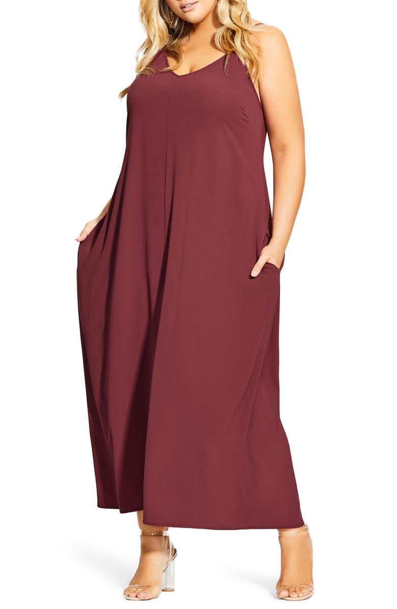 CITY CHIC V-Neck Maxi Dress, Main, color, 202