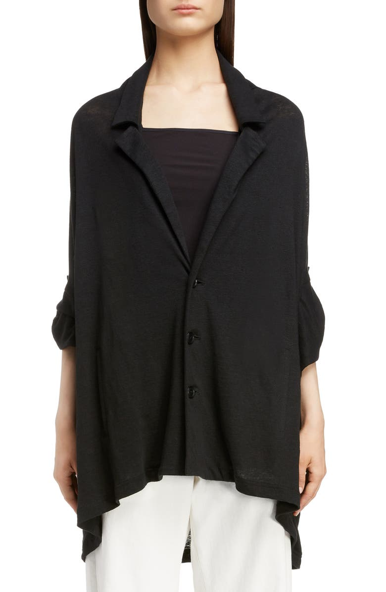 Y'S BY YOHJI YAMAMOTO Linen Jersey Jacket, Main, color, 001