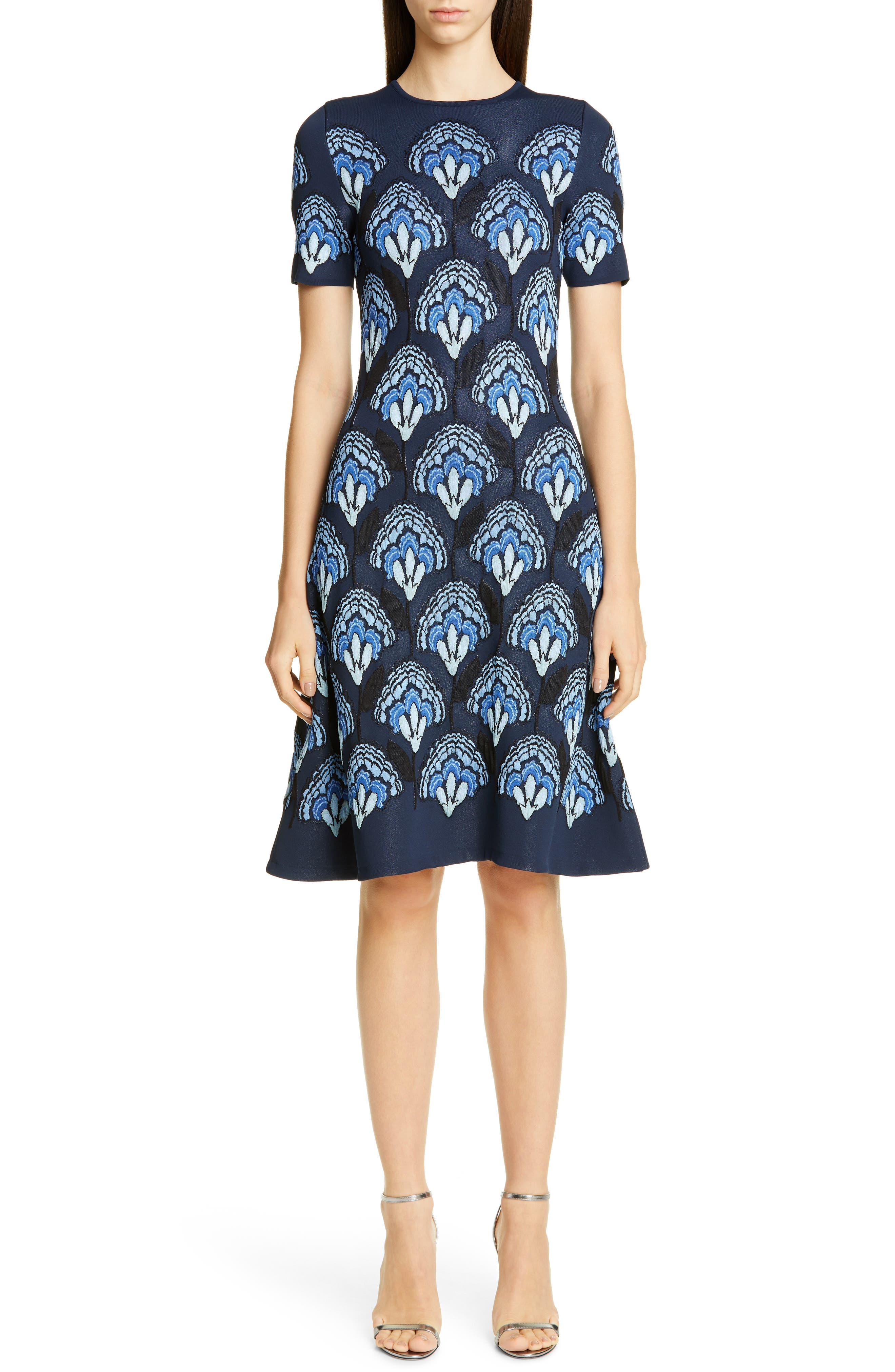 Carolina Herrera Floral Jacquard Knit Dress, Blue
