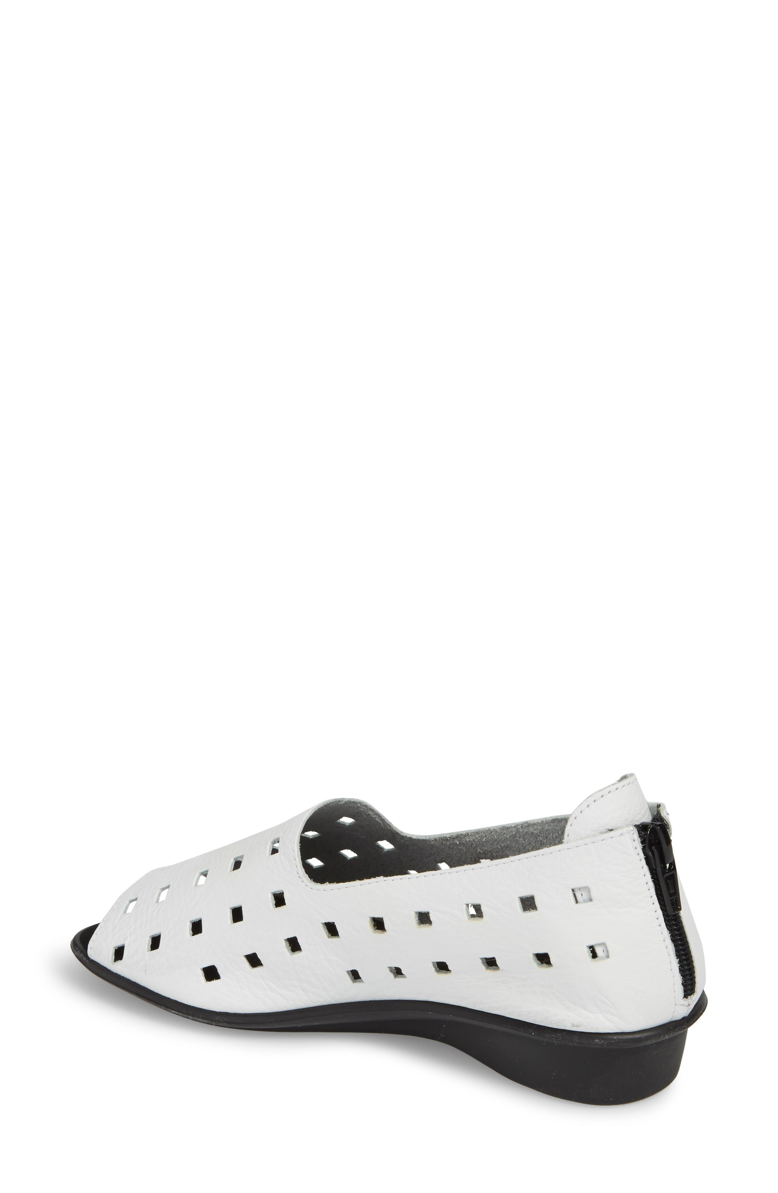 ,                             'Evonne' Cutout Open-Toe Flat,                             Alternate thumbnail 2, color,                             WHITE LEATHER