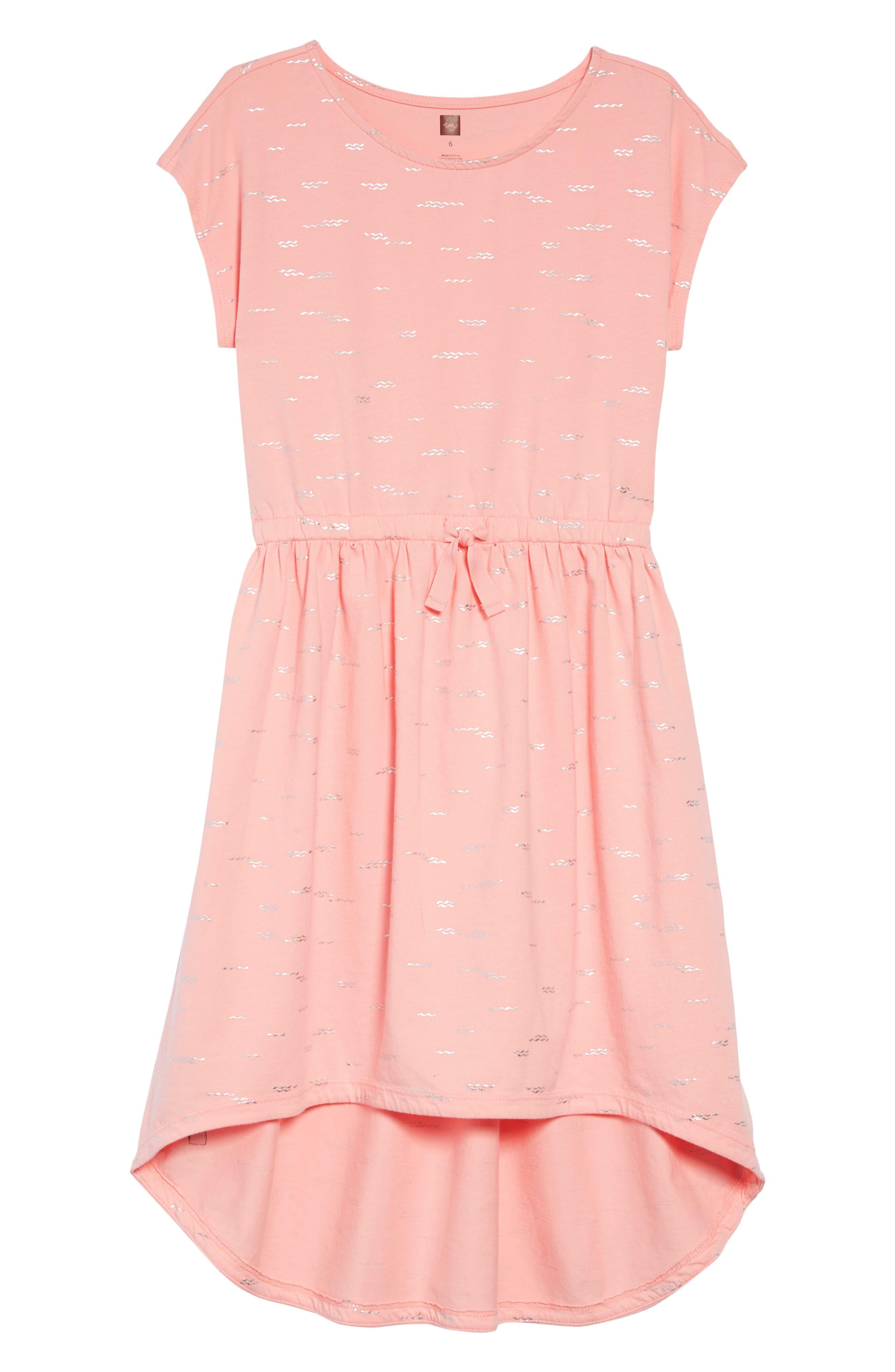 Sparkle High/Low Dress, Main, color, GLIMMERING WAVES - TEACUP