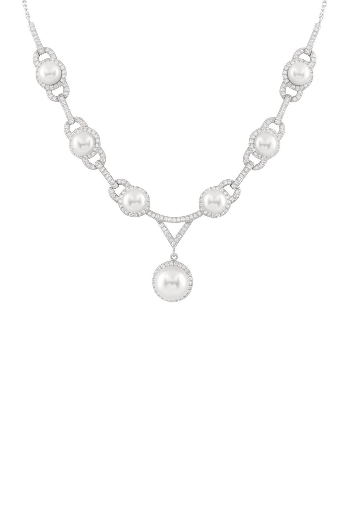 Image of Splendid Pearls Fancy 11-11.5mm Freshwater Pearl & CZ Bib Necklace