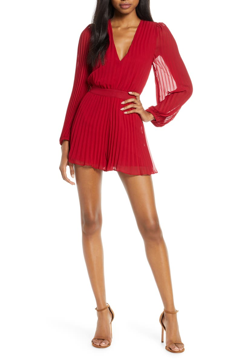 ALI & JAY Tower Bar Sunsets Long Sleeve Pleated Romper, Main, color, BERRY