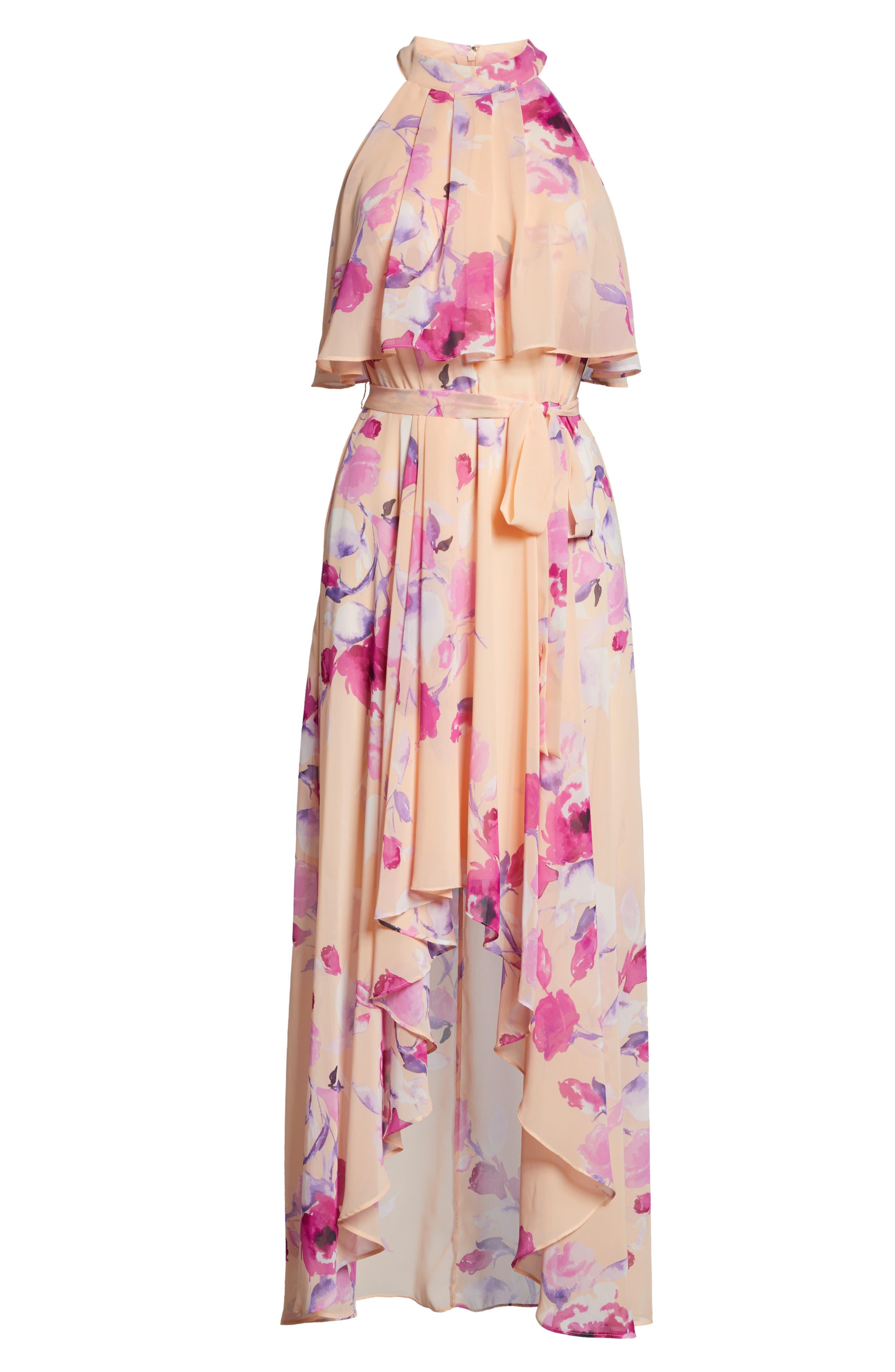 ,                             Halter High/Low Midi Dress,                             Alternate thumbnail 7, color,                             BLUSH