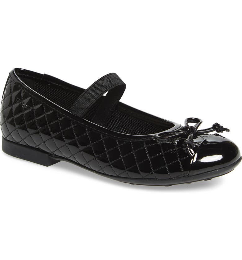 GEOX Plie Mary Jane Flat, Main, color, BLACK/ BLACK