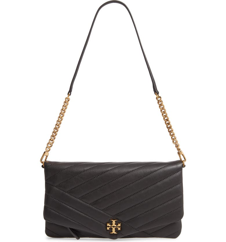 TORY BURCH Kira Chevron Quilted Leather Clutch, Main, color, BLACK