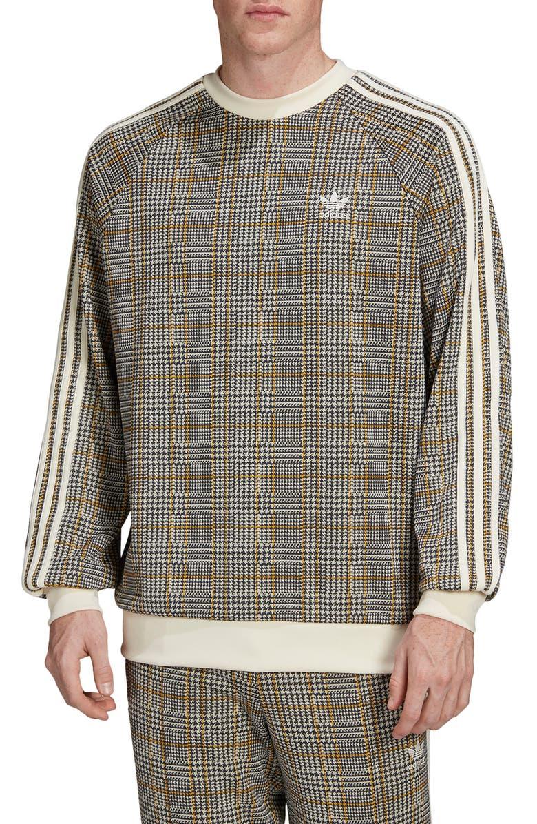 ADIDAS ORIGINALS Tartan Crewneck Sweatshirt, Main, color, MULTICOLOR/ WHITE