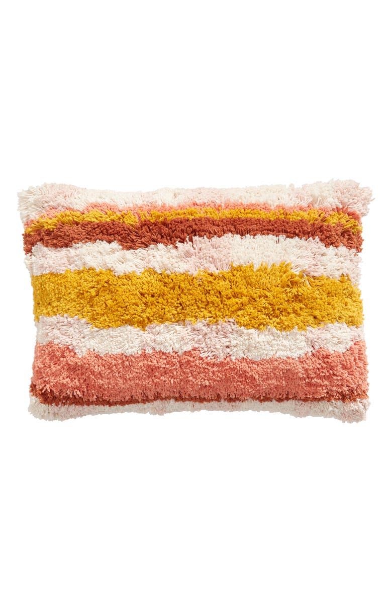 BP. Stripe Shag Accent Pillow, Main, color, IVORY MULTI