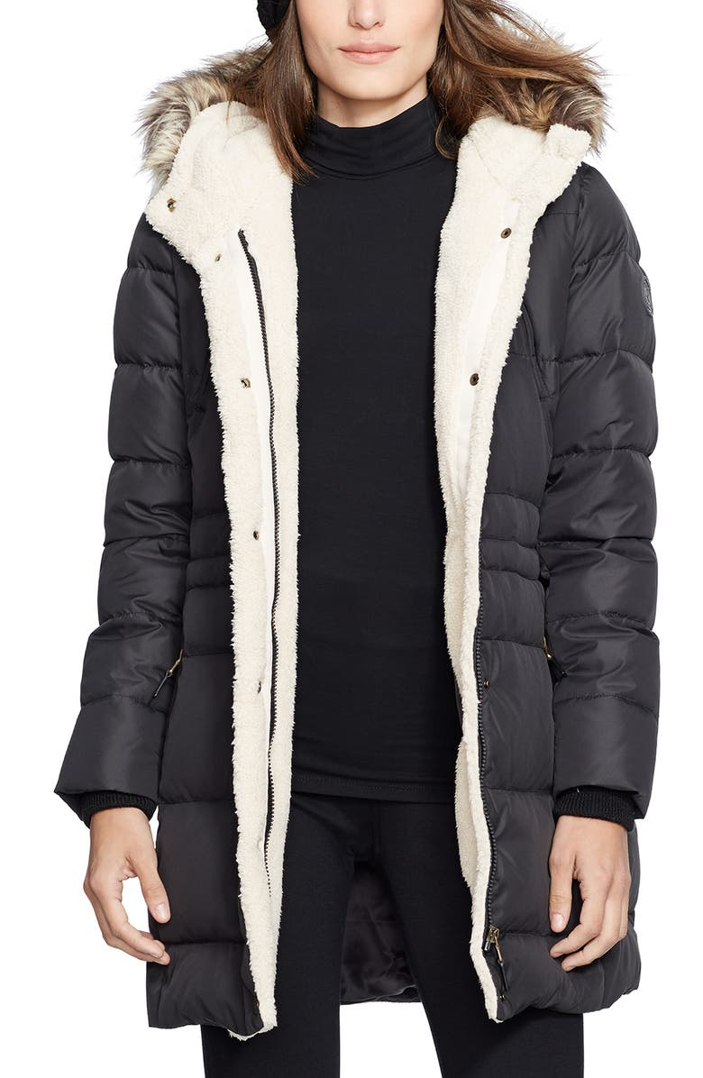 LAUREN RALPH LAUREN Faux Fur Trim Down & Feather Fill Parka, Main, color, BLACK