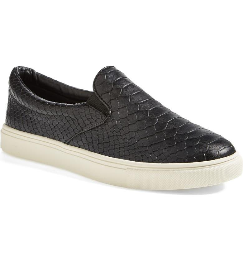 STEVE MADDEN 'Ecntrc-c' Snake-Embossed Slip-On Sneaker, Main, color, 001