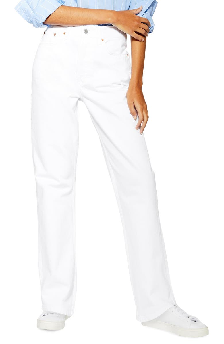 TOPSHOP High Waist Dad Jeans, Main, color, WHITE