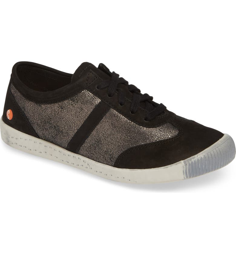 SOFTINOS BY FLY LONDON Ifi Sneaker, Main, color, GRAPHITE/ BLACK LEATHER