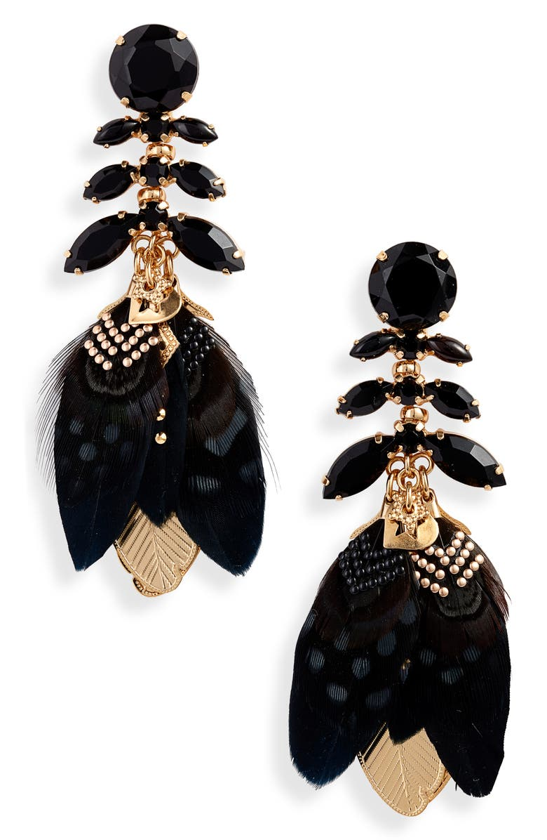 GAS BIJOUX Cabaret Earrings, Main, color, BLACK