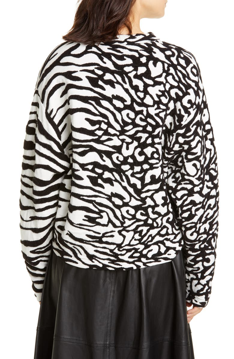 PROENZA SCHOULER White Label Animal Jacquard Cotton Blend Sweater, Main, color, WHITE/ BLACK