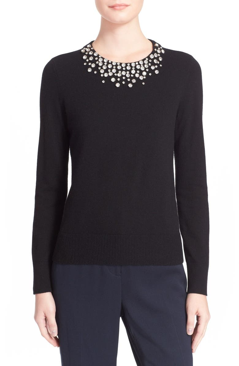 KATE SPADE NEW YORK embellished wool sweater, Main, color, 001