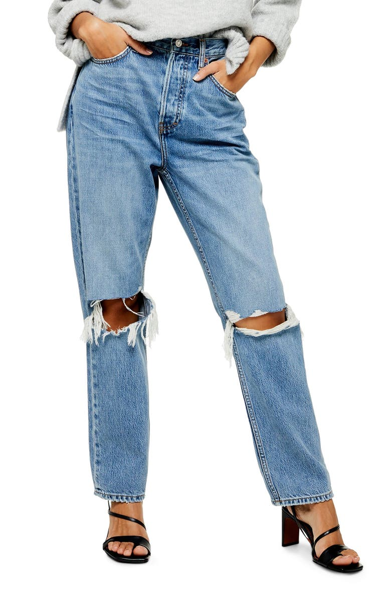a7432aa5e75031 Ripped High Waist Dad Jeans, Main, color, MID DENIM