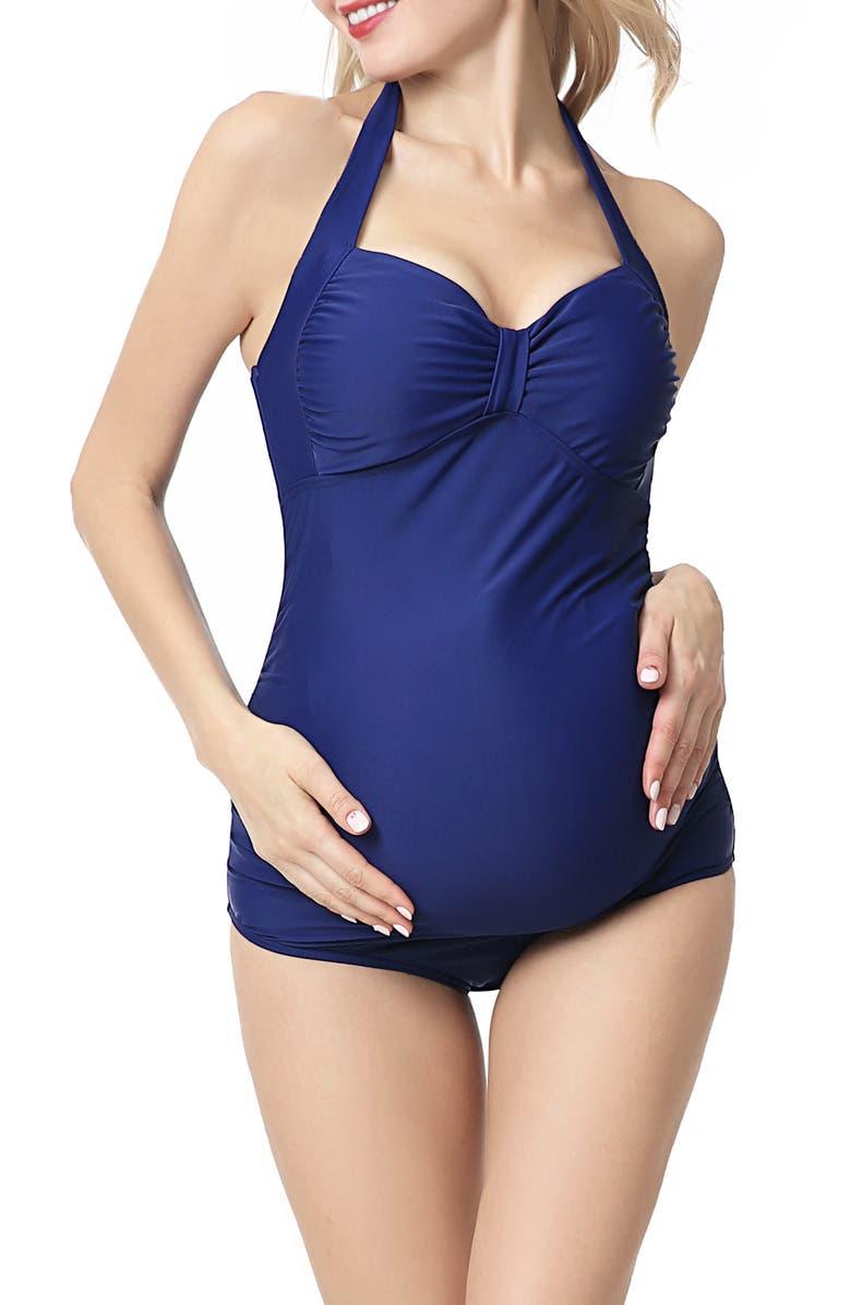 KIMI AND KAI Dana Maternity Halter One-Piece Swimsuit, Main, color, NAVY