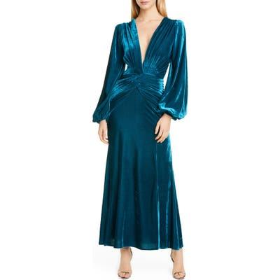 Patbo Long Sleeve Velvet Gown, 4 BR - Blue