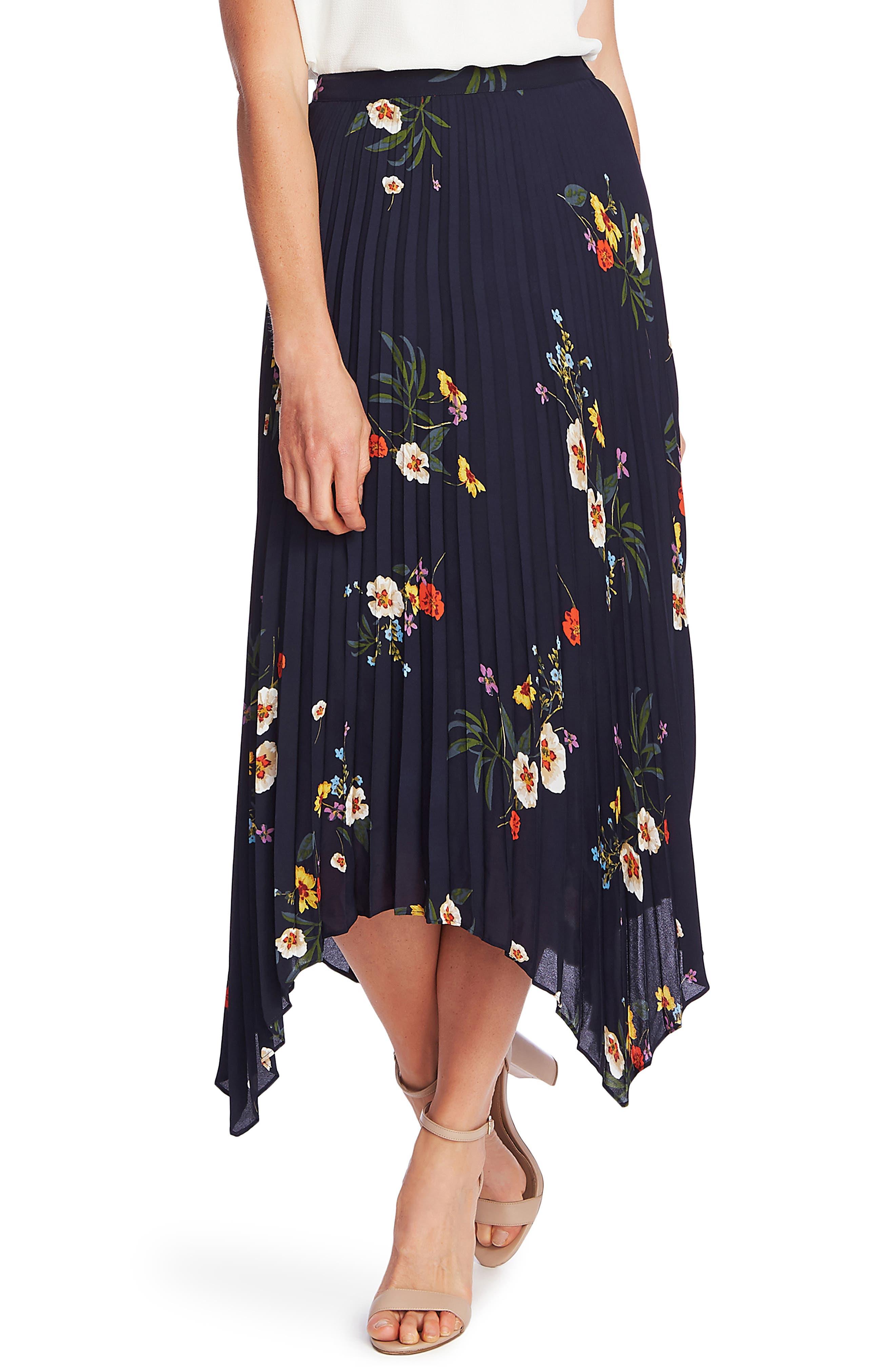 Retro Skirts: Vintage, Pencil, Circle, & Plus Sizes Womens Vince Camuto Surreal Garden Handkerchief Hem Pleated Skirt Size XX-Large - Blue $119.00 AT vintagedancer.com