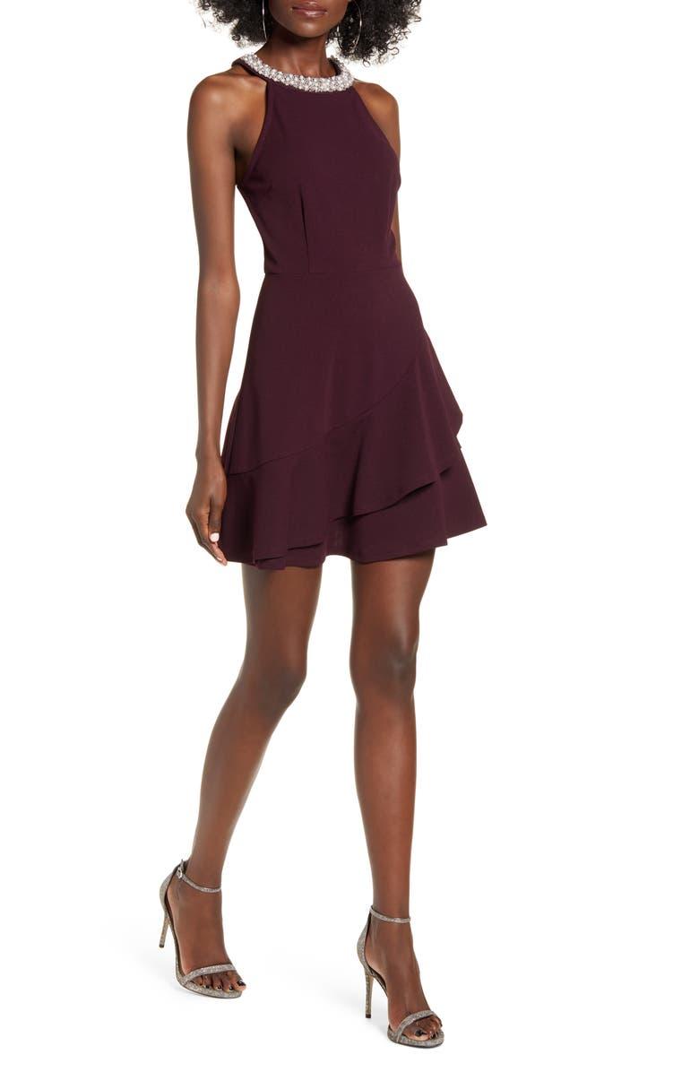 SPEECHLESS Beaded Neck Halter Fit & Flare Minidress, Main, color, DARK PLUM