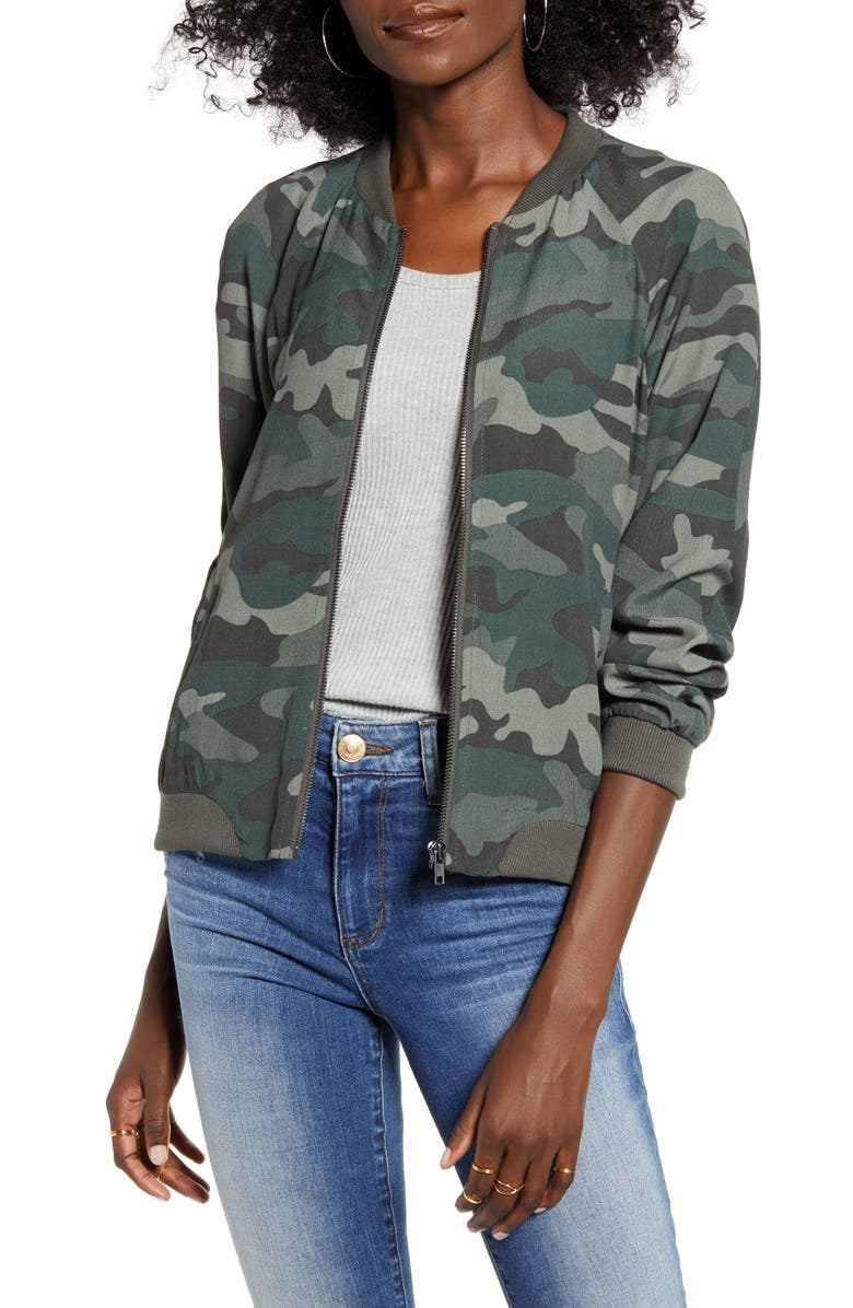 BB DAKOTA Can't See Me Camo Bomber Jacket, Main, color, ARMY GREEN