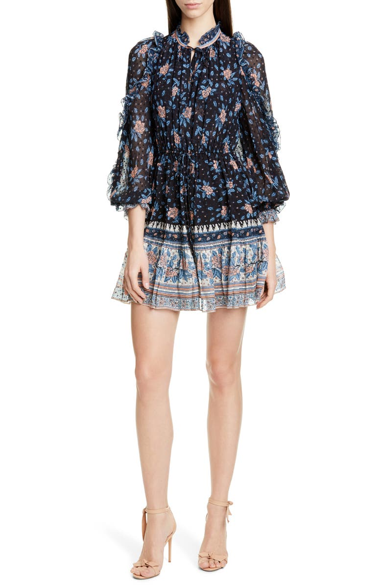 ULLA JOHNSON Dani Silk Blend Jacquard Minidress, Main, color, NOIR