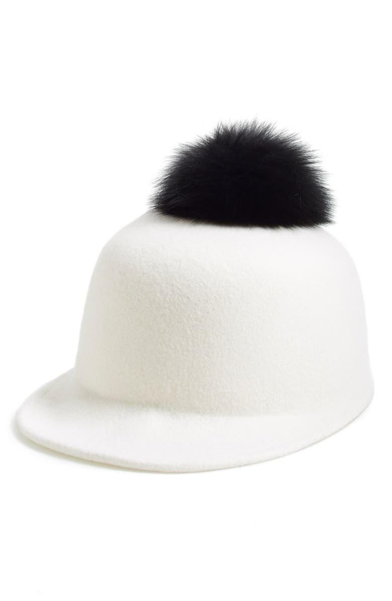 b08e1f1fb Helene Berman Genuine Fox Fur Pompom & Wool Cap | Nordstrom
