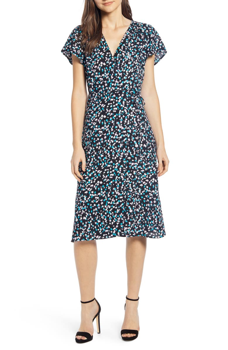 LEITH Wrap Dress, Main, color, BLACK PETITE FLEUR