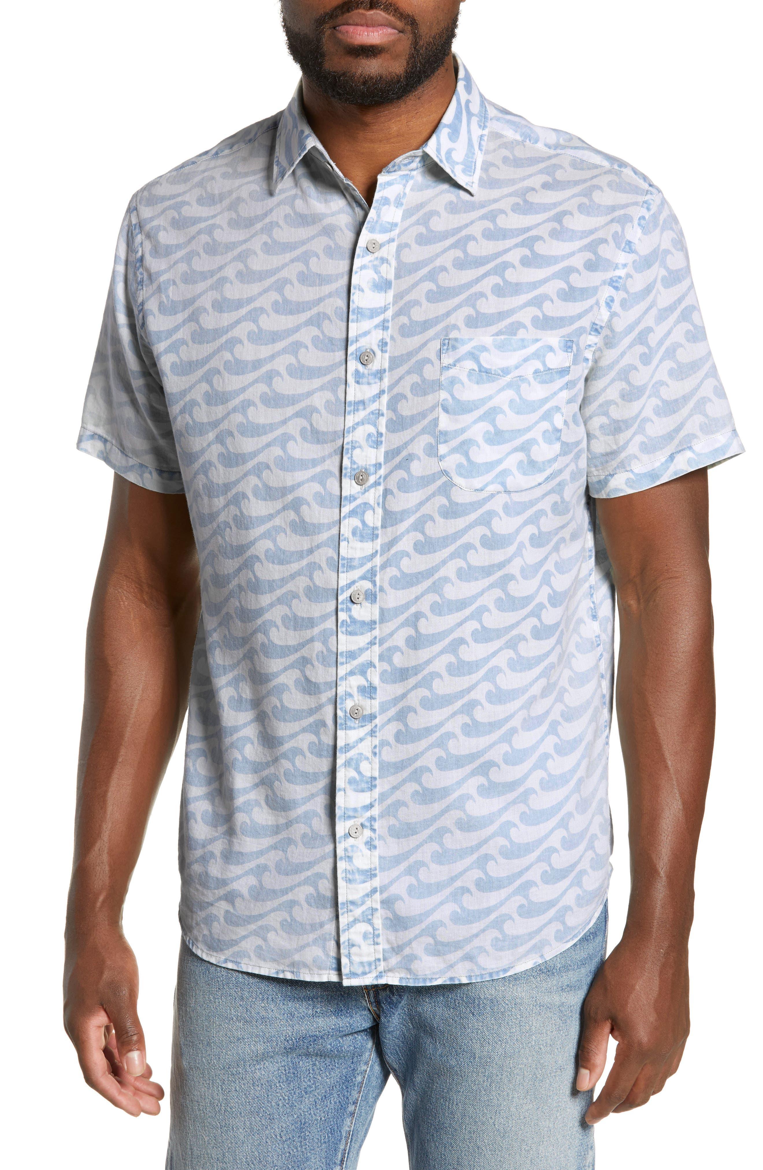Faherty Coast Regular Fit Print Sport Shirt, White