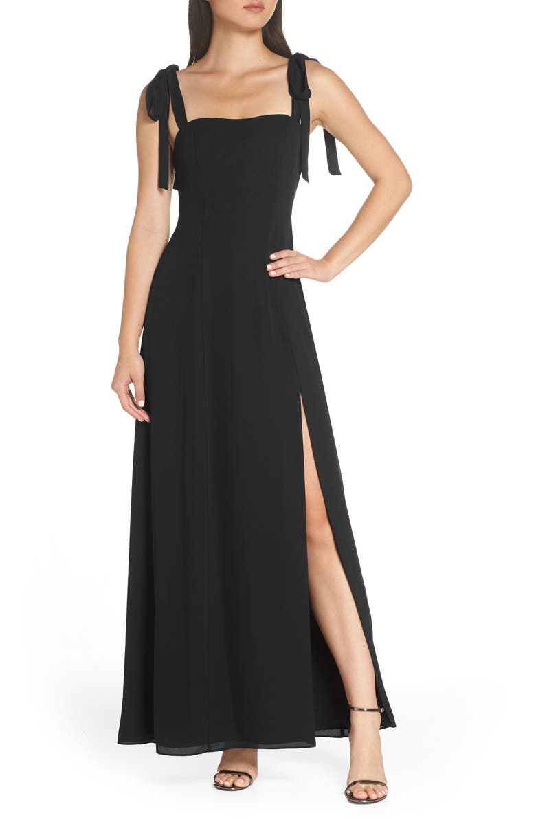 FAME AND PARTNERS Tie Shoulder Gown, Main, color, BLACK