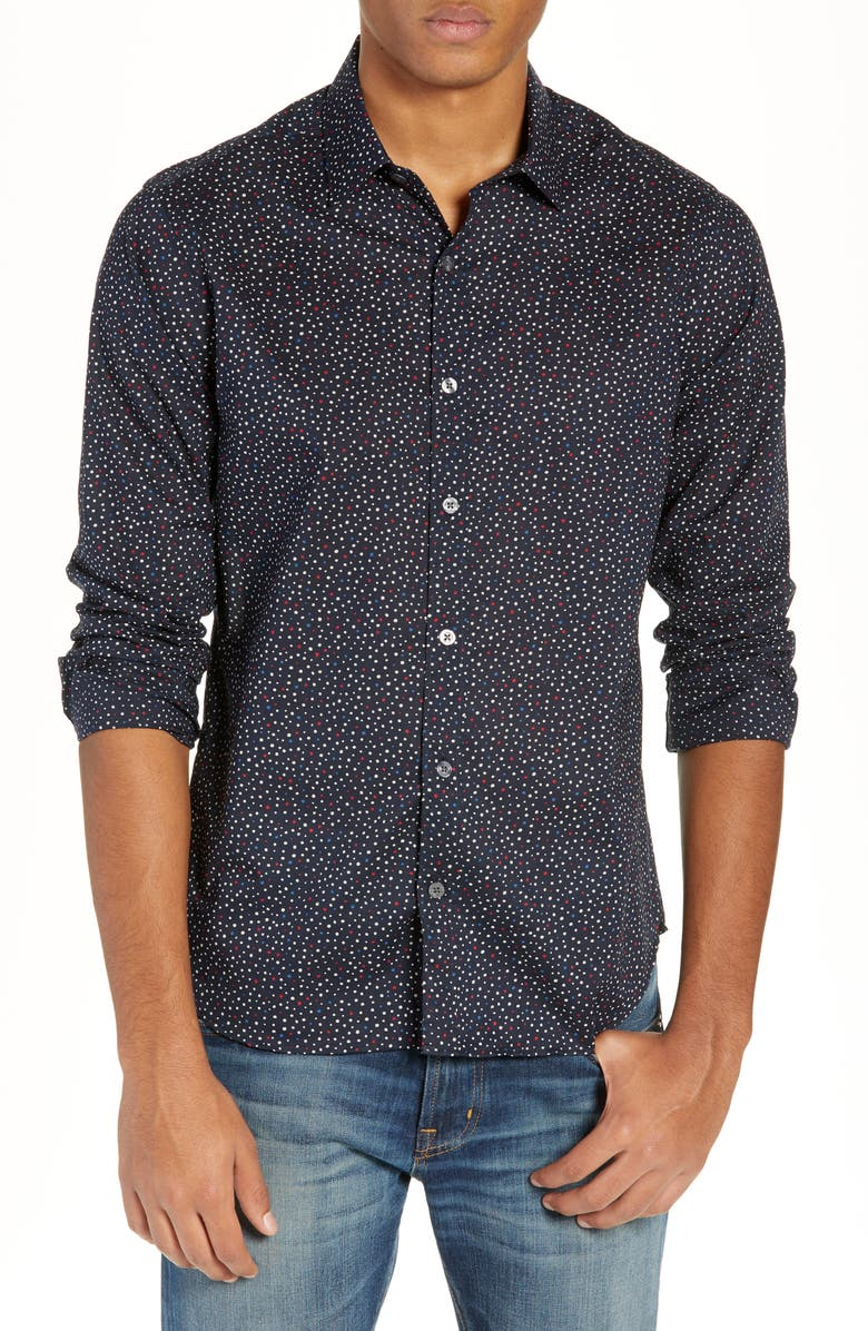 JEFF Jenks Slim Fit Long Sleeve Shirt, Main, color, 001