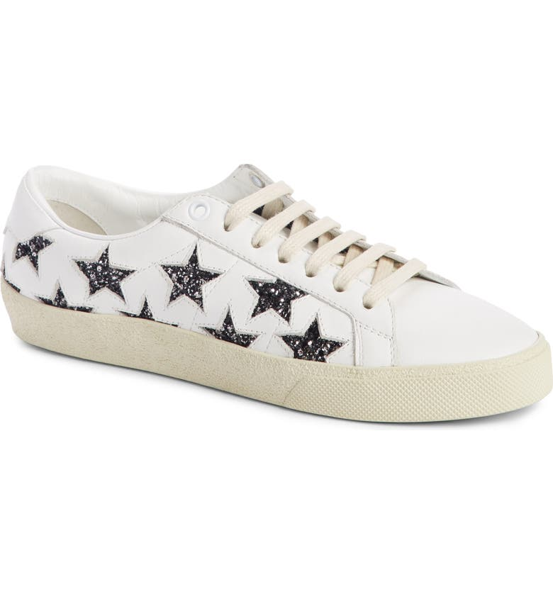 SAINT LAURENT Court Classics Stars Sneaker, Main, color, WHITE/ BLACK GLITTER