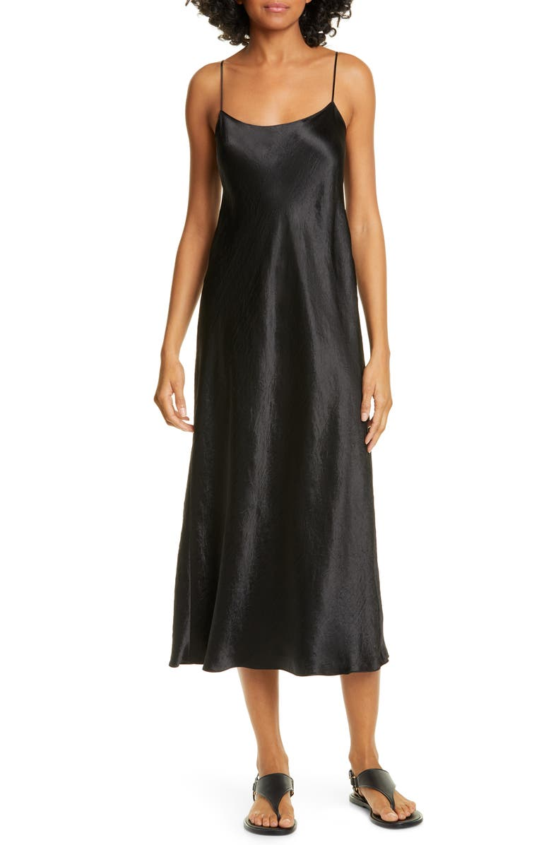 VINCE Satin Midi Slipdress, Main, color, BLACK