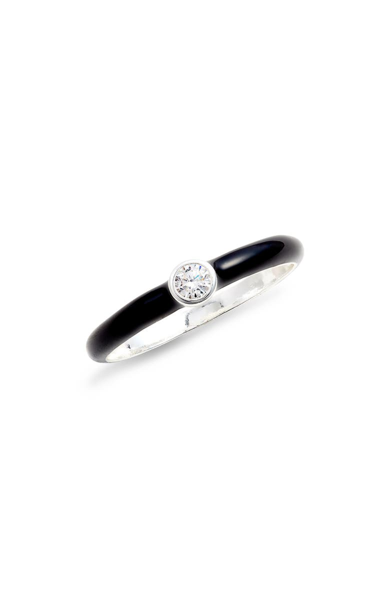 ARGENTO VIVO Crystal Enamel Ring, Main, color, SILVER/ BLACK