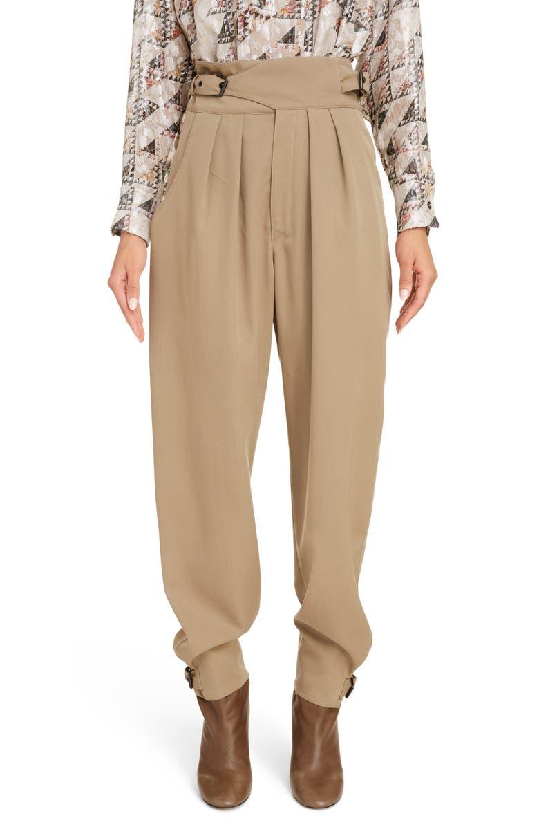 ISABEL MARANT Pleated Wool Pants, Main, color, KHAKI