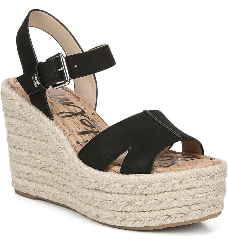SAM EDELMAN Maura Espadrille Wedge Sandal, Main, color, BLACK
