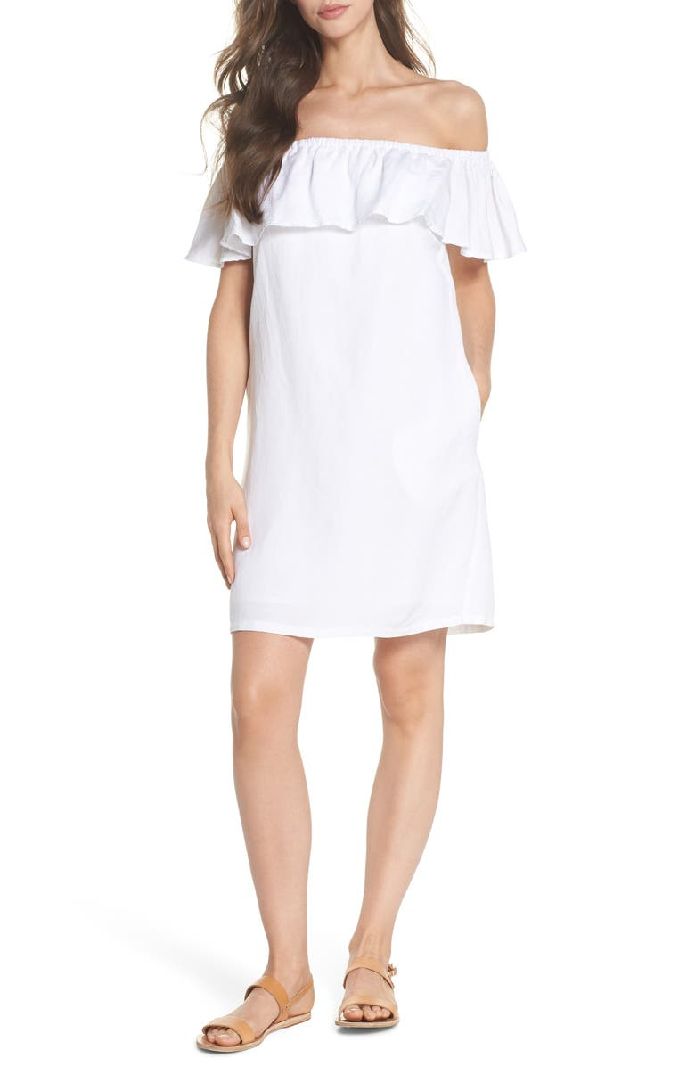 TOMMY BAHAMA Off the Shoulder Cover-Up Dress, Main, color, WHITE