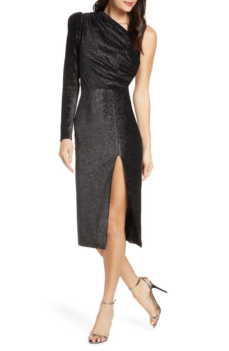 BRONX AND BANCO One-Shoulder Velvet Shimmer Midi Dress, Main, color, 001