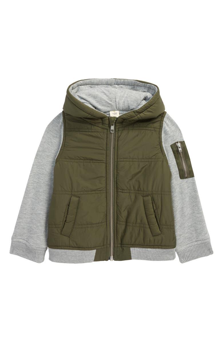 TUCKER + TATE Mountain Crest Nylon & Fleece Jacket, Main, color, OLIVE SARMA- GREY HEATHER