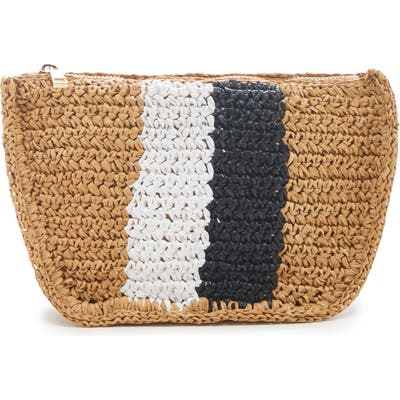 Sole Society Chade Stripe Woven Crossbody Bag - Beige