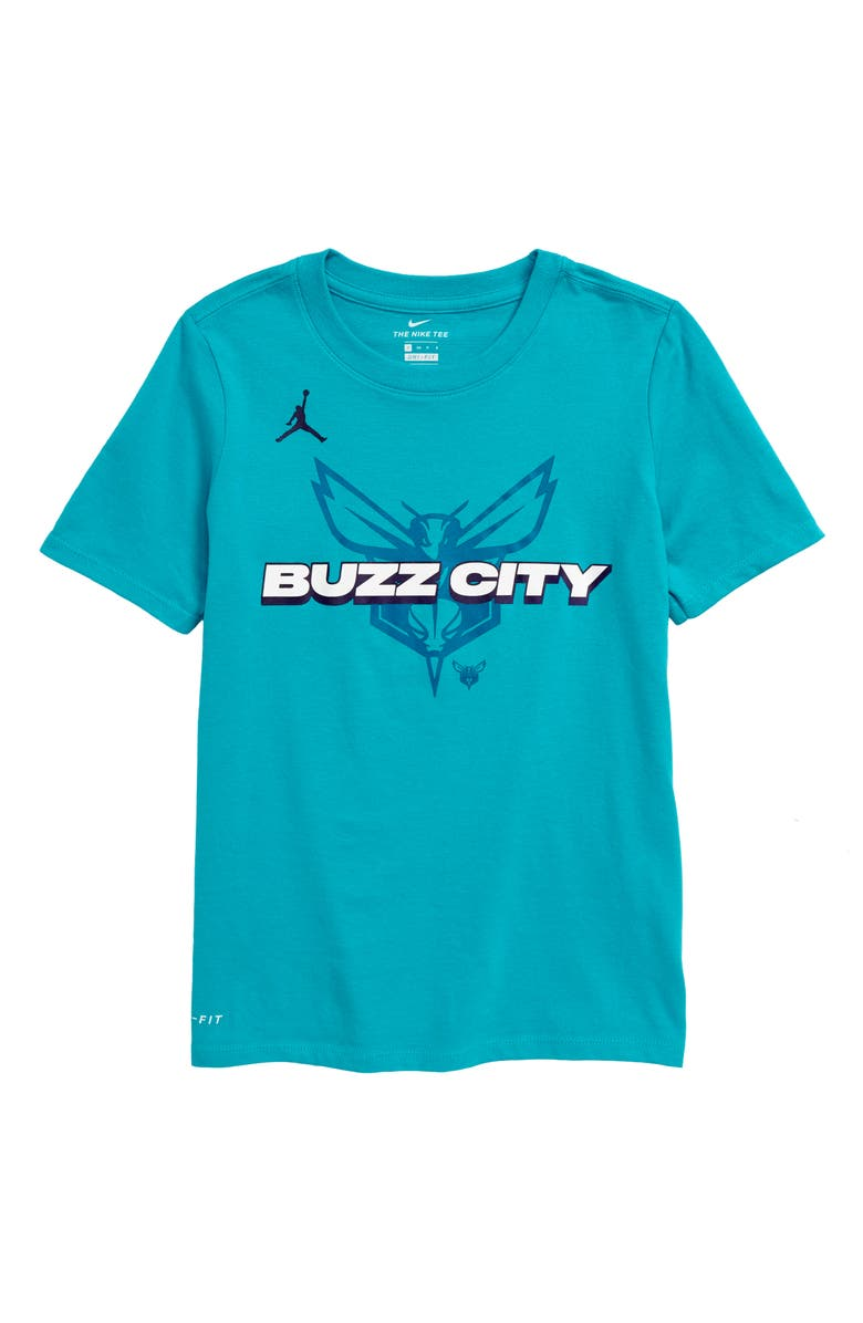 NIKE NBA Charlotte Hornets Mantra Dri-FIT Graphic T-Shirt, Main, color, RAPID TEAL