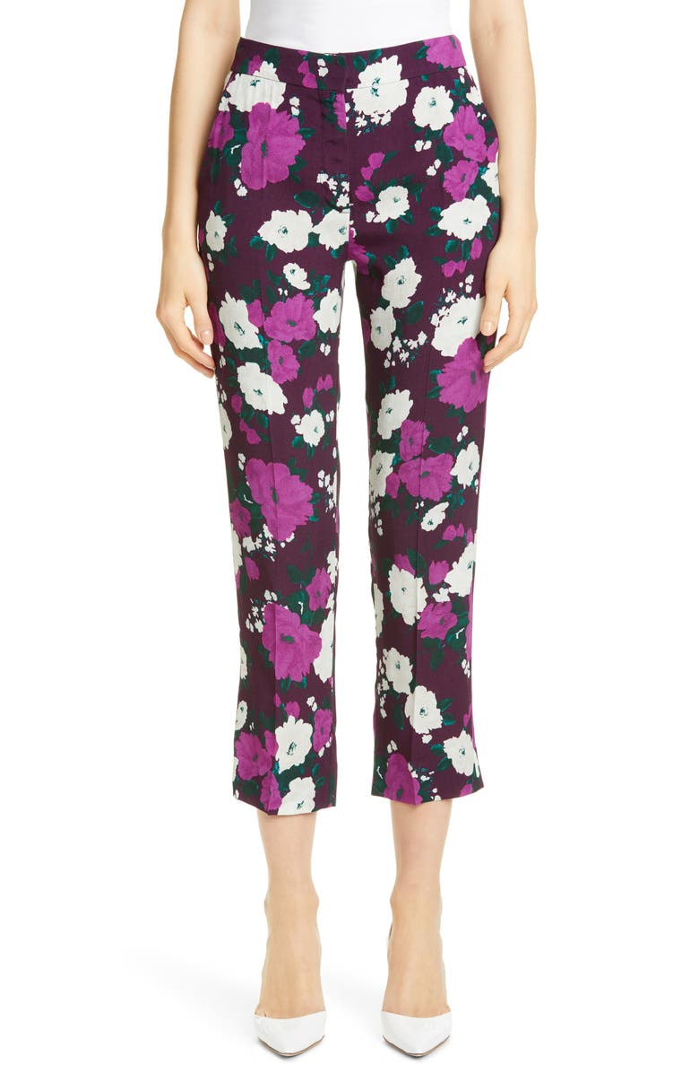 ERDEM Floral Print Crepe Straight Leg Pants, Main, color, AUBERGINE PURPLE
