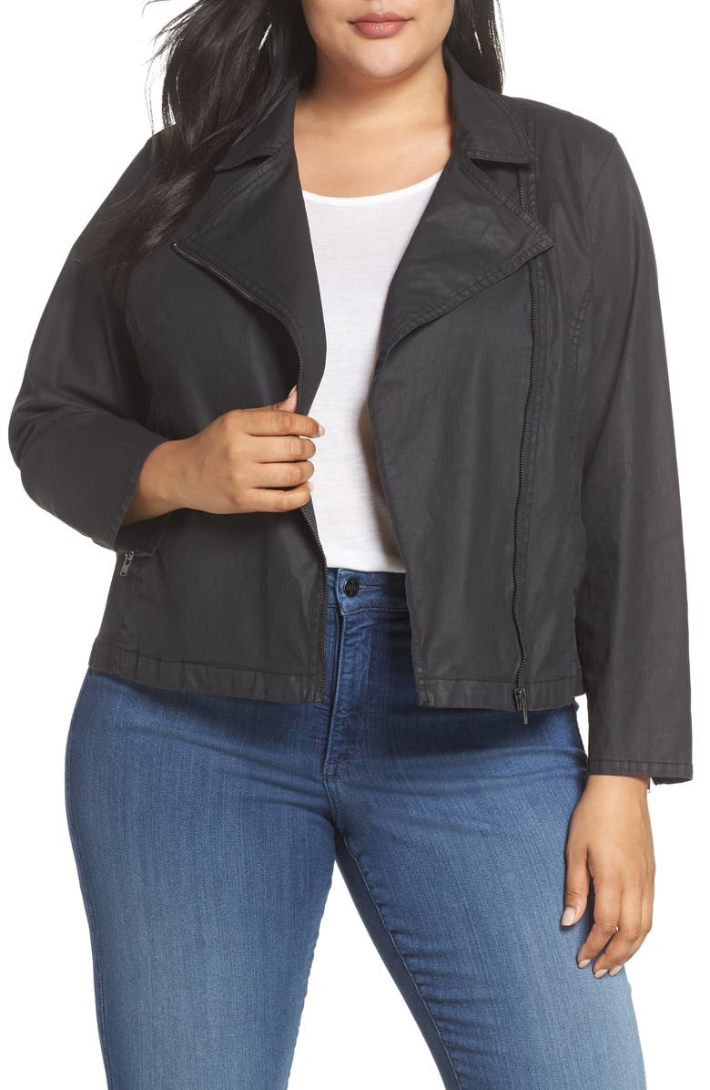ed1ec77be Eileen Fisher Short Waxed Cotton Jacket (Plus Size) | Nordstrom