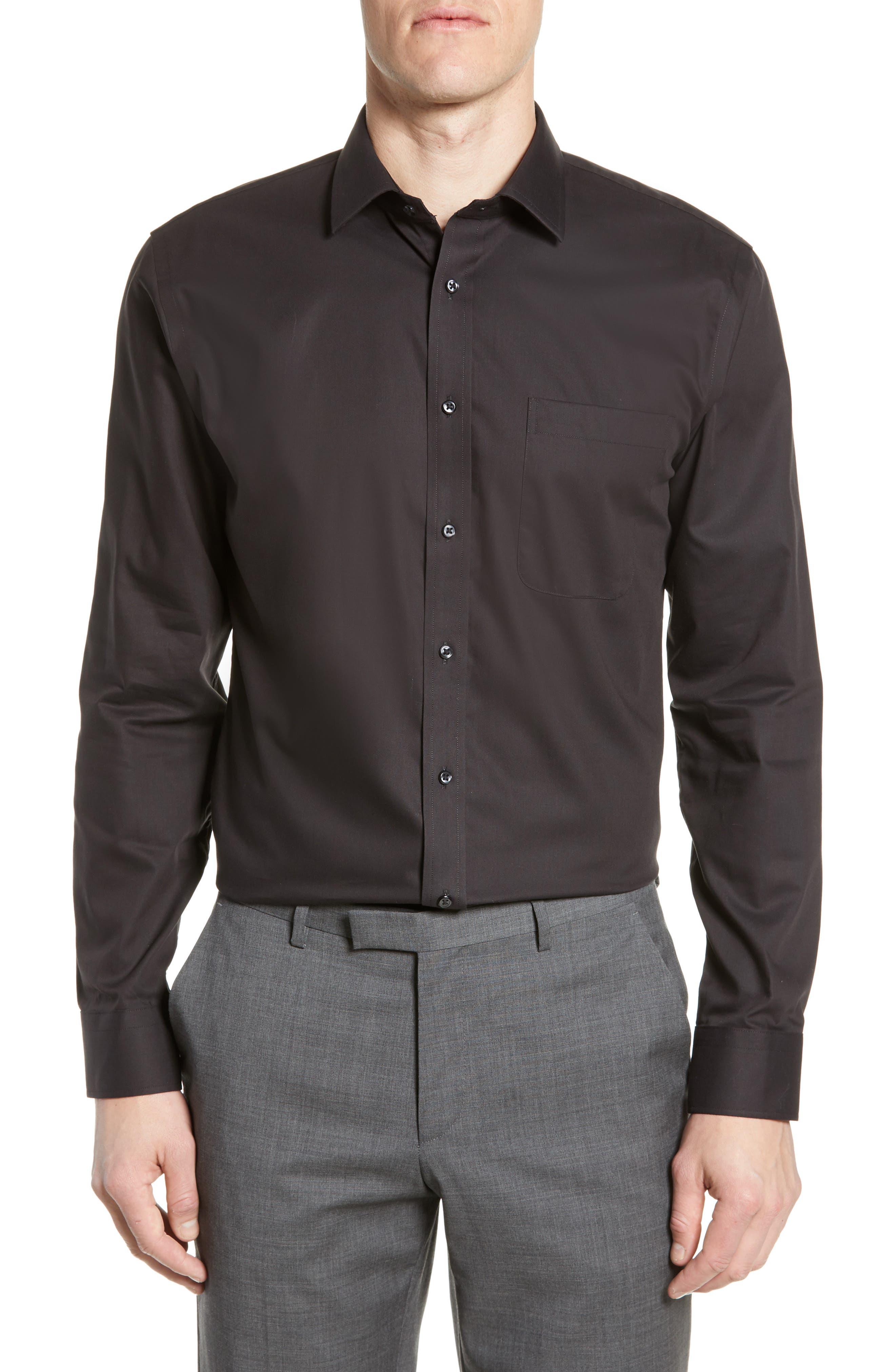 ,                             Trim Fit Non-Iron Dress Shirt,                             Main thumbnail 1, color,                             BLACK