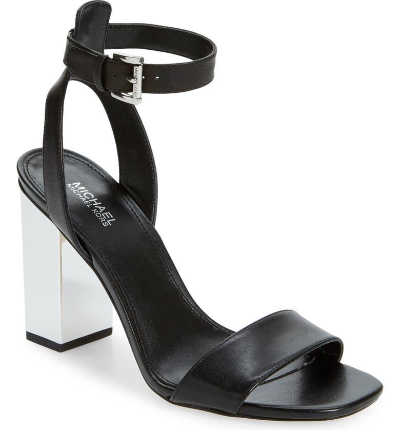 MICHAEL MICHAEL KORS Petra Block Heel Sandal, Main, color, BLACK LEATHER