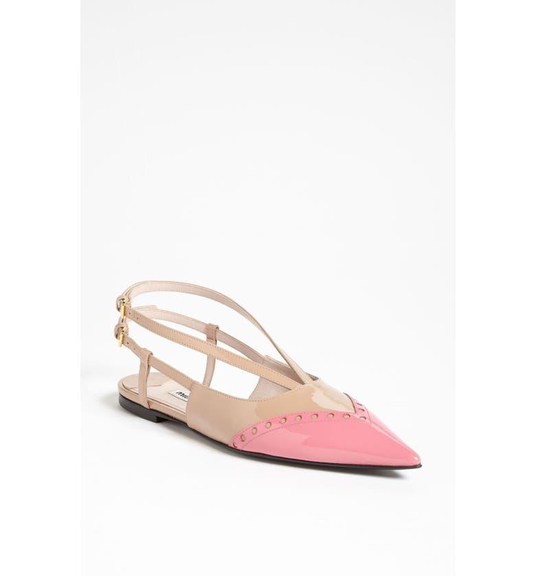 MIU MIU Pointed Toe Ballet Flat, Main, color, 650
