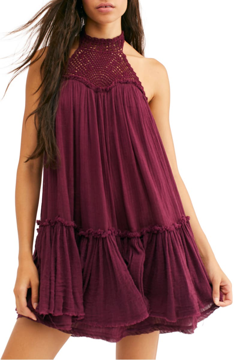 FREE PEOPLE Endless Summer by Free People Key to My Heart Crochet Halter Tunic, Main, color, FIG SORBET