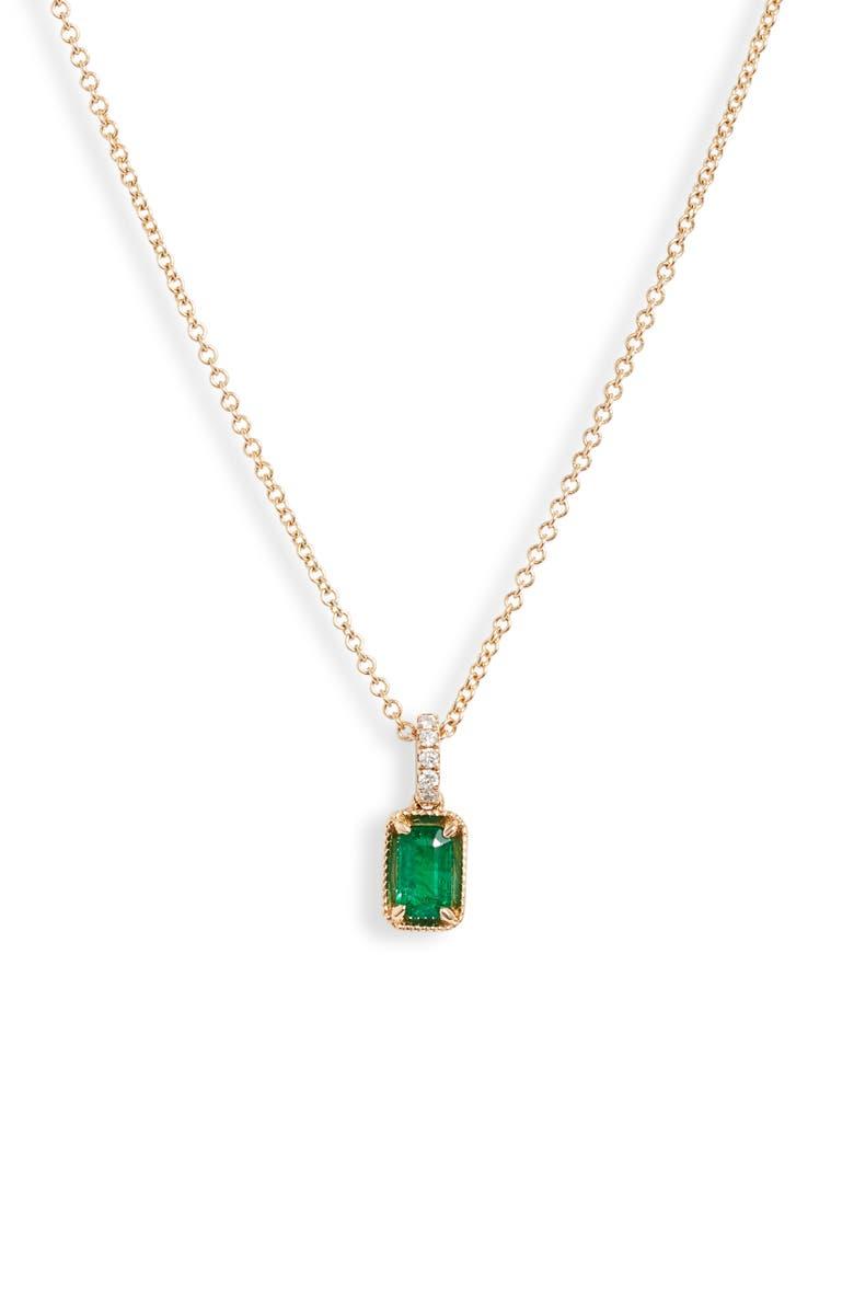 BONY LEVY El Mar Emerald & Diamond Pendant Necklace, Main, color, YELLOW GOLD/ EMERALD