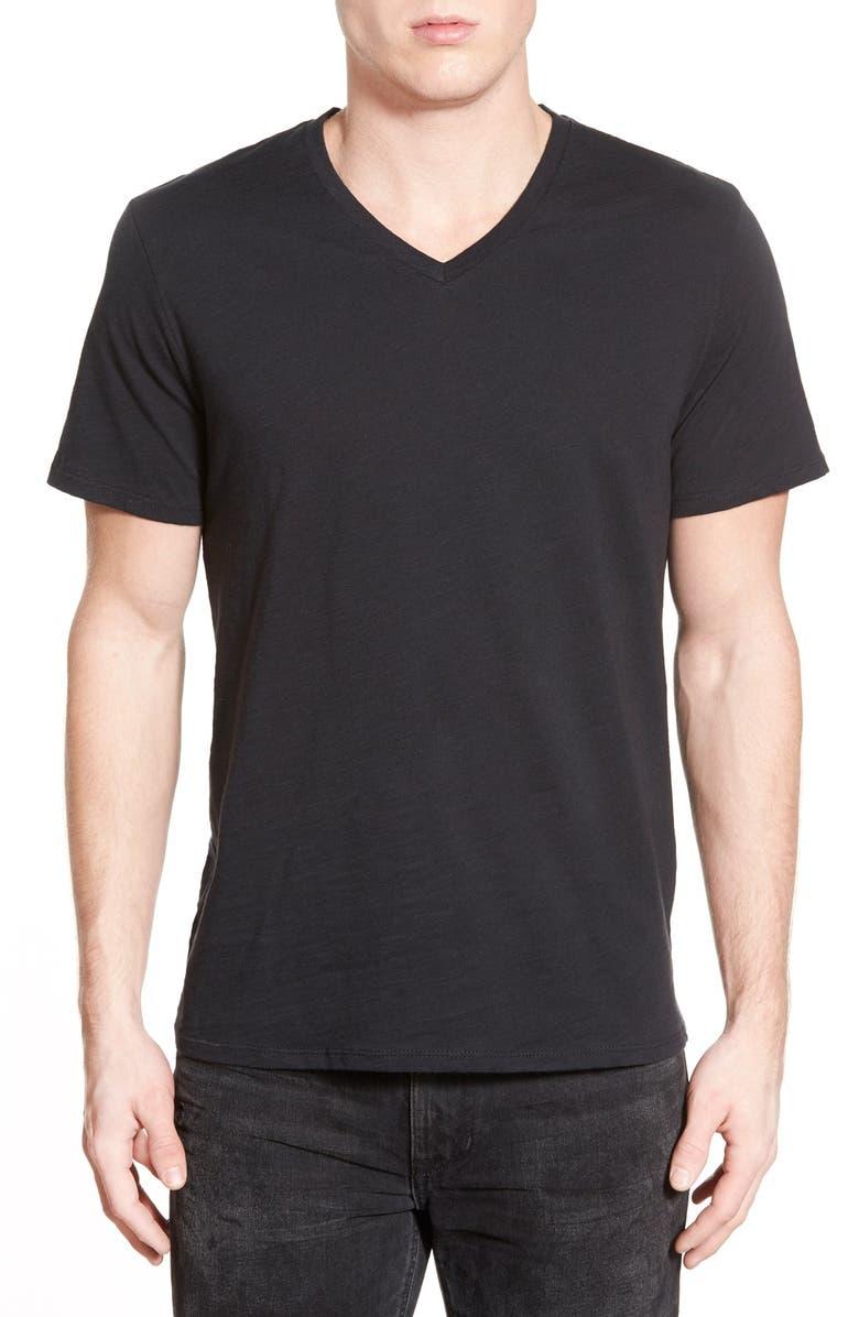 THE RAIL Slub Cotton V-Neck T-Shirt, Main, color, 001