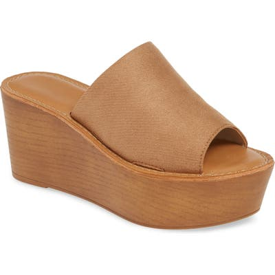 Chinese Laundry Waverly Platform Wedge Slide Sandal- Brown
